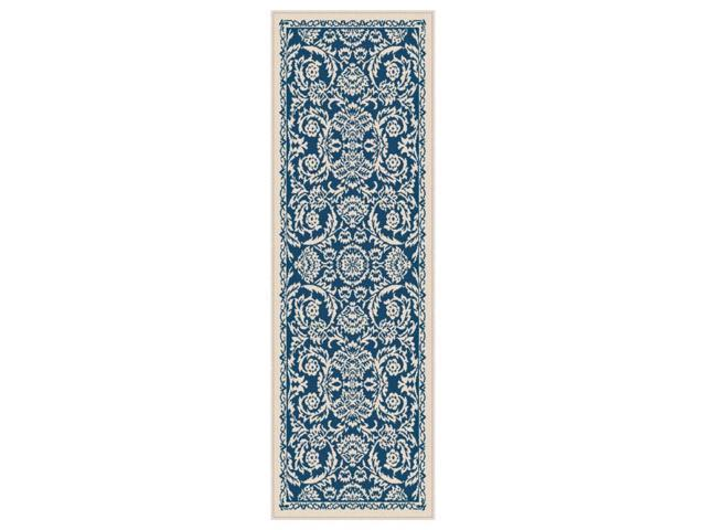 City Basile Runner Rug in Navy and Ivory