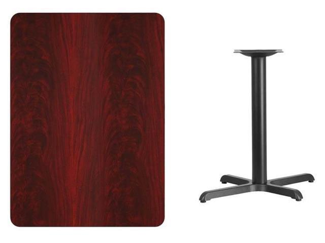 30'' x 42'' Rectangular Mahogany Laminate Table Top with 22'' x 30'' Table Height Base