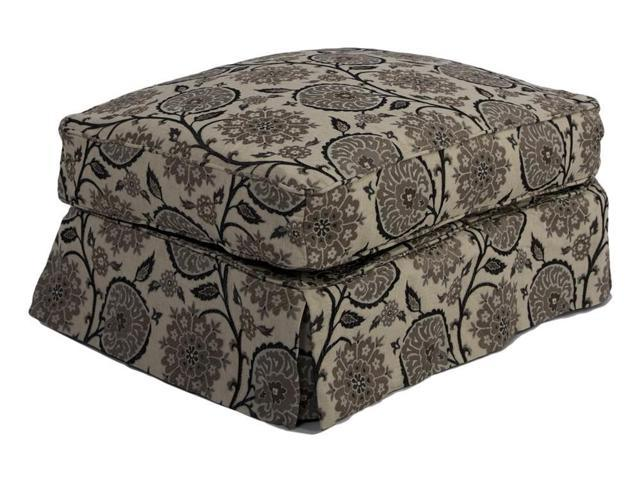 Sunset Trading Horizon Slipcovered Ottoman in Contemporary Floral