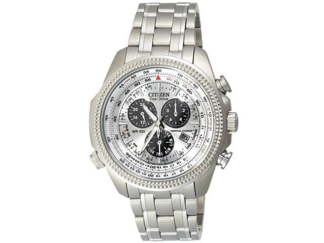 Citizen Eco-Drive Perpetual Chronograph Silver Dial Mens Watch BL5400-52A