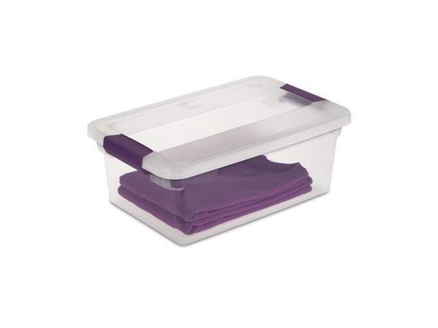 Sterilite 15 Quart ClearView Latch Storage Container With Sweet Plum Handles 17