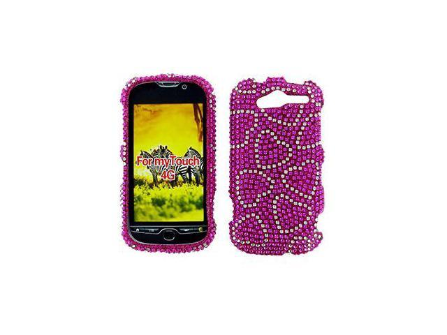 HTC T-Mobile myTouch 4G/Panache 4G Full Bling White Hearts On Hot Pink Snap-On Protector Case Faceplate