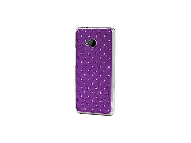 Slim Studded Diamond Chrome Case for HTC ONE M7 (Purple)