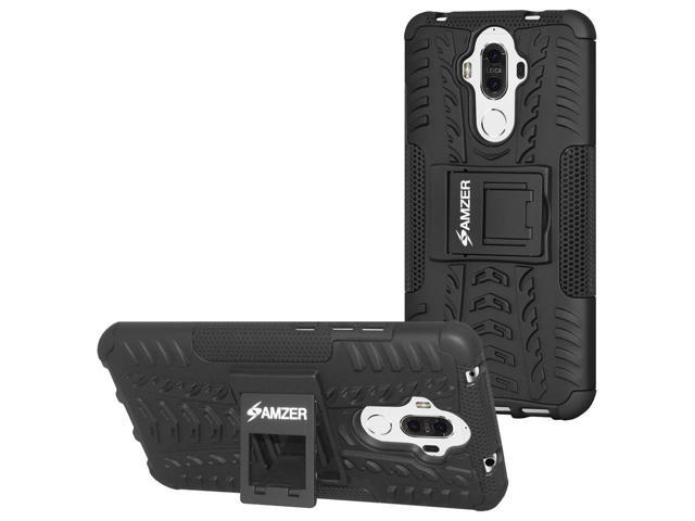 Huawei Mate 9 Case, [Heavy Duty] [Shockproof] Hybrid Warrior Armor Protective Case Cover with Stand, Includes [Hybrid Warrior Case: Black] + [Micro USB Car Charger] + [Micro USB Travel Wall Charger]