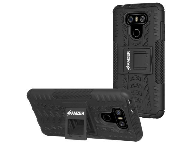 LG G6 Case, [Heavy Duty] [Shockproof] Hybrid Warrior Armor Protective Case Cover with Stand, Combo Includes [Hybrid Warrior Case: Black] + [Micro USB Car Charger] + [Micro USB Travel Wall Charger]