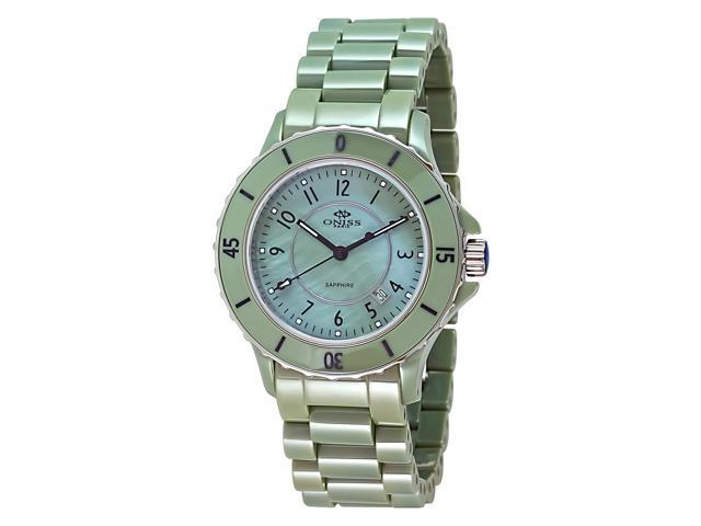 Oniss ON8043 Women's Mother-of-Pearl Dial Green Ceramic Watch