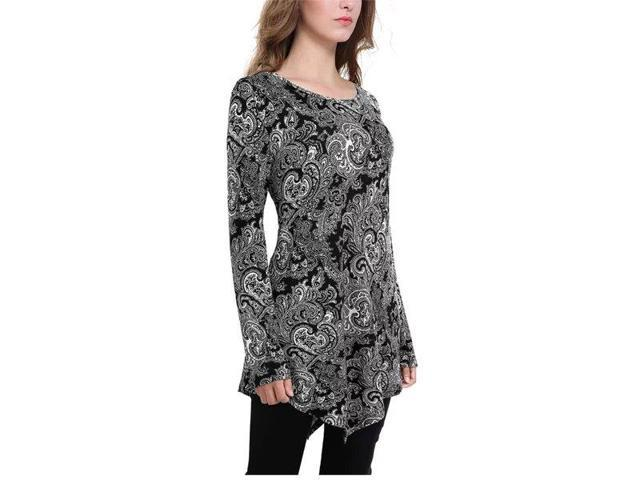Women's Crewneck Handkerchief Hem Tunic Top Long Sleeve Size S-XXL