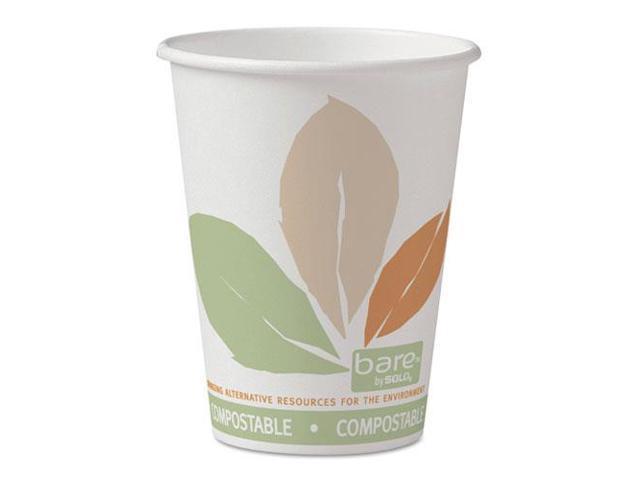 Solo Cup - 412PLN-J7234 - Bare PLA Paper Hot Cups, 12oz, White w/Leaf Design, 50/Bag, 20 Bags/Carton