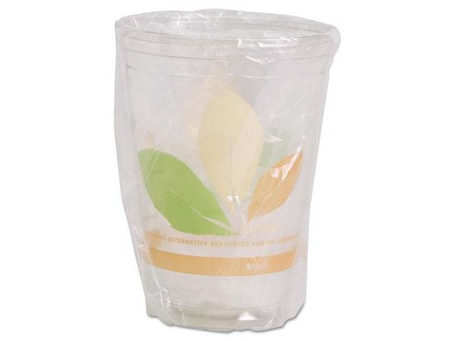 SOLO Cup Company RTP9DBAREW Bare Wrapped RPET Cold Cups, 9oz, Clear With Leaf Design, 500/Carton, 1 Carton