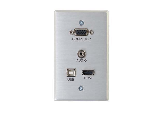 C2G (Cables To Go) - 60171 - RapidRun VGA + 3.5mm + HDMI and USB Pass Through Single Gang Wall Plate - 1-gang - Aluminum