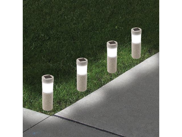 Ideaworks JB7381 Set of 2 Stone Pillar Lights Grey and Black