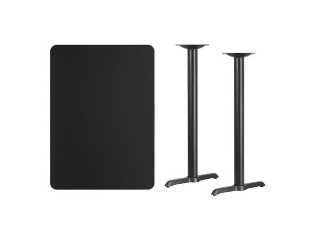 30'' x 42'' Rectangular Black Laminate Table Top with 5'' x 22'' Bar Height Table Bases