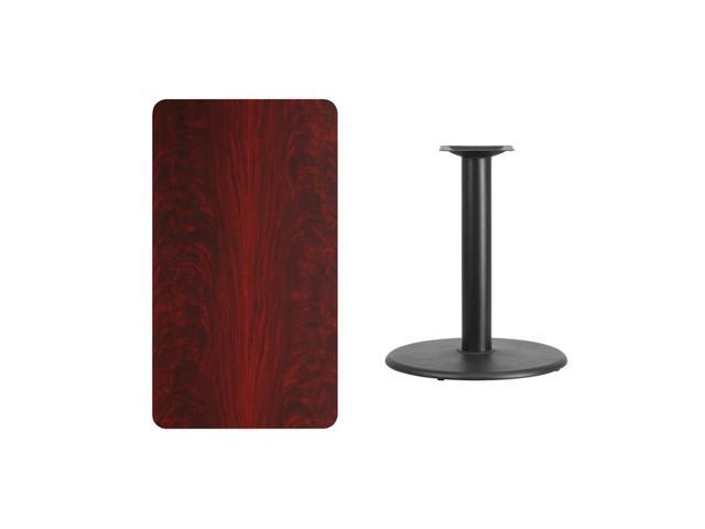 24'' x 42'' Rectangular Mahogany Laminate Table Top with 24'' Round Table Height Base