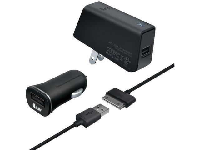 iLuv IAD568BLK MobiSeal Black Deluxe Combo USB Charging Kit For iPad/iPhone/iPod