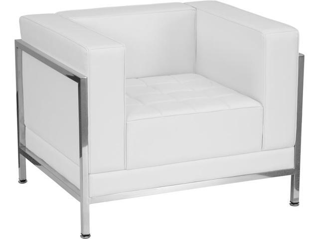 Flash Furniture Hercules Imagination Series Contemporary White Leather Chair With Encasing Frame