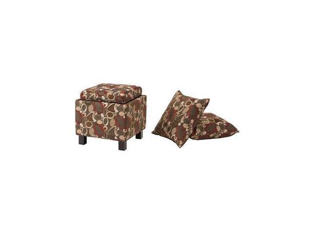 Madison Park Shelley Square Storage Ottoman with Pillows In Brown