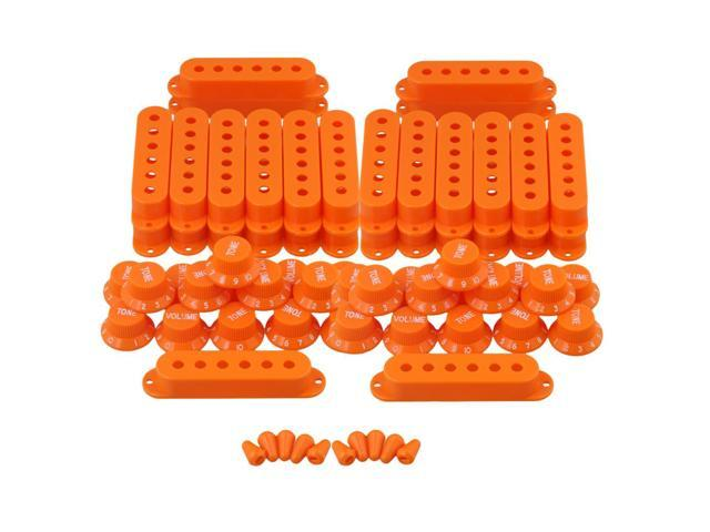 BQLZR 10 x Guitar Orange Plastic Single Coil Pickup Cover 48/50/52 + Volume Tone Knob