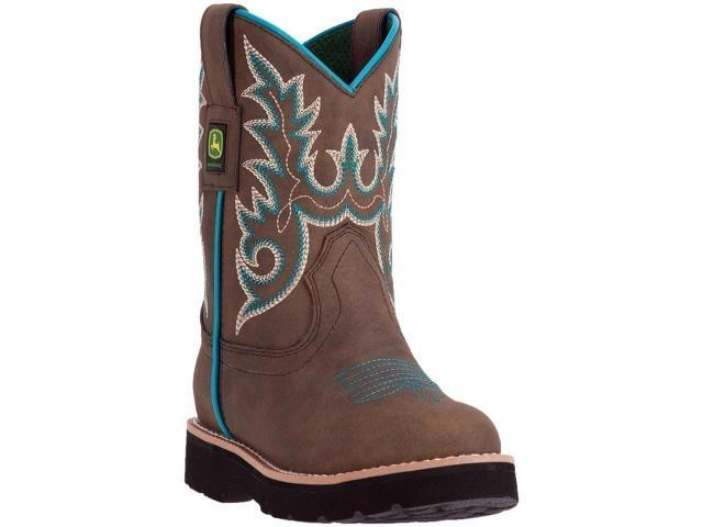 John Deere Western Boots Girls Kids Round Toe 11 Child Brown JD2032