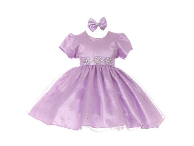 Baby Girls Lilac Short Sleeve Sparkle Floral Stone Flower Girl Dress 24M