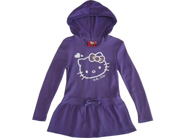 Sanrio Little Girls Purple Hello Kitty Heart Long Sleeve Hooded Dress 6X