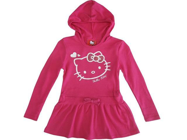 Sanrio Little Girls Pink Hello Kitty Heart Long Sleeve Hooded Dress 6X