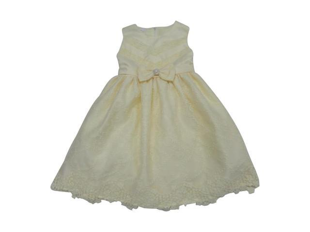 Baby Girls Ivory Embroidered Bow Accent Sleeveless Flower Girl Dress 24M