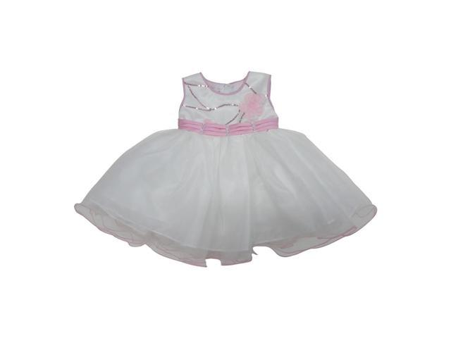 Little Girls Pink White Glitter Sequin Floral Accent Flower Girl Dress 4T
