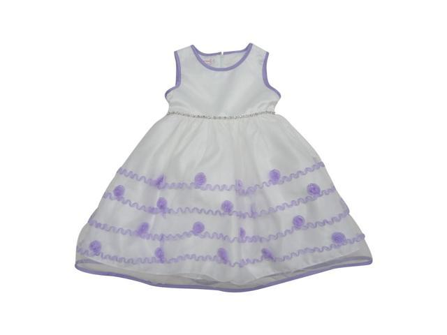 Baby Girls Lilac Ric Rac Trim Rosette Accented Flower Girl Dress 24M