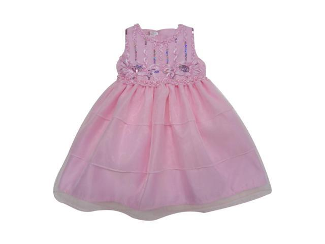 Baby Girls Pink Sparkle Sequin Bead Embellished Flower Girl Dress 18M