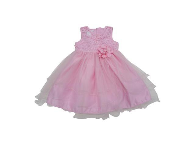 Baby Girls Pink Beaded Embroidered Floral Accented Flower Girl Dress 12M