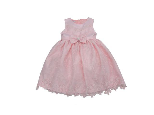 Baby Girls Coral Embroidered Bow Accent Sleeveless Flower Girl Dress 12M