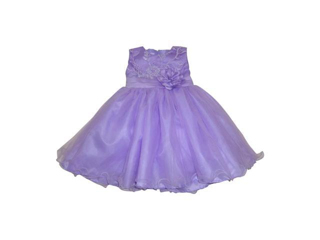 Little Girls Lilac Embroidered Floral Accent Wire Hem Flower Girl Dress 2T