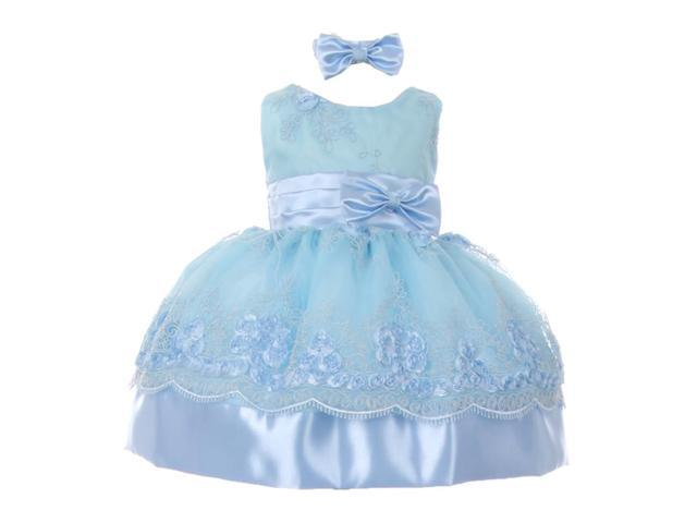 Baby Girls Light Blue Floral Embroidered Bow Headband Flower Girl Dress 12M