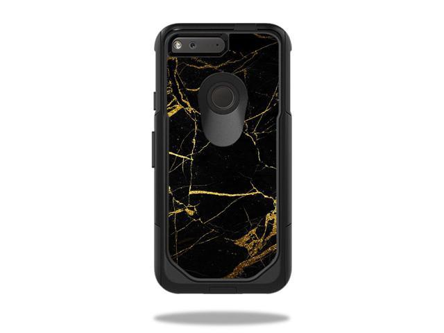 Skin Decal Wrap OtterBox Commuter Google Pixel 5 Case Black Gold Marble