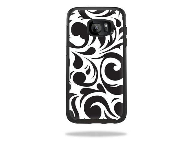 Skin Decal Wrap for OtterBox Symmetry Samsung Galaxy S7 Edge Swirly Black