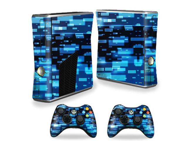 Skin Decal Wrap Cover for Xbox 360 S Slim + 2 controllers Space Blocks
