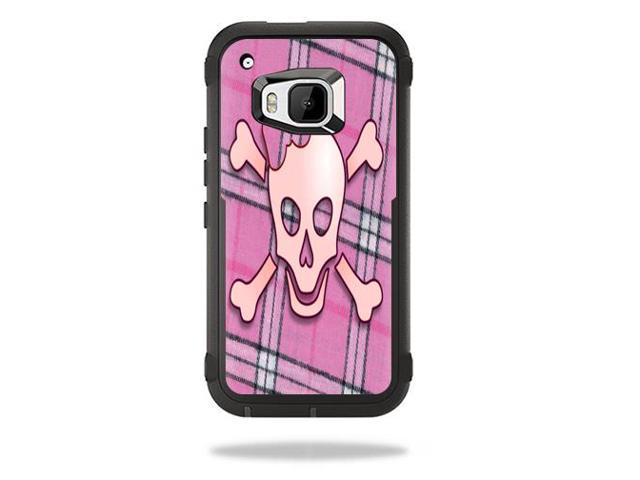 Skin Decal Wrap for Otterbox Defender HTC One M9 Case Pink Bow Skull