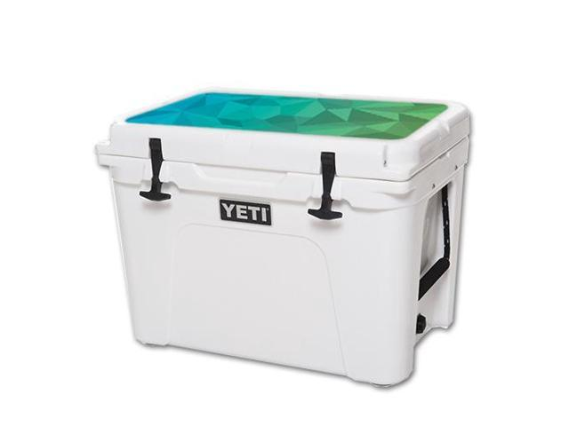 Skin Decal Wrap for YETI Tundra 50 qt Cooler Lid Blue Green Polygon