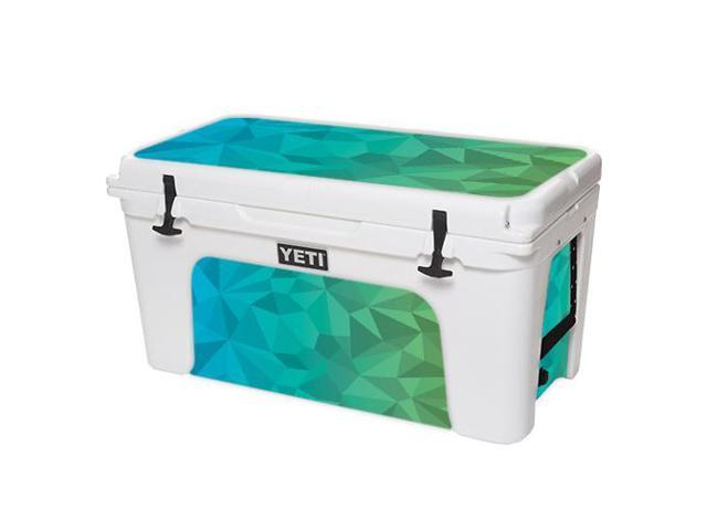 Skin Decal Wrap for YETI Tundra 75 qt Cooler Blue Green Polygon