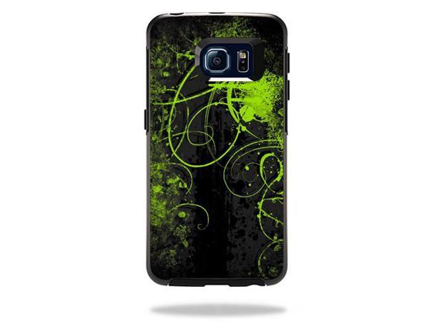 Skin Decal Wrap for OtterBox Symmetry Galaxy S6 Edge Case Green Distortion