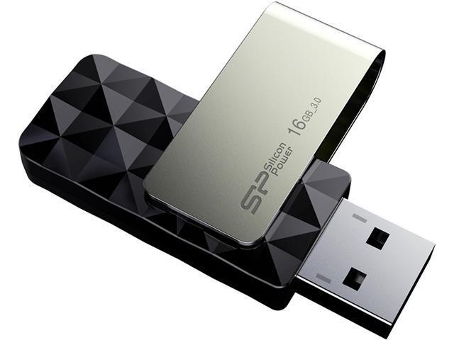 Silicon Power Blaze B30 USB 3.0 16GB Swivel Flash Drive - Black