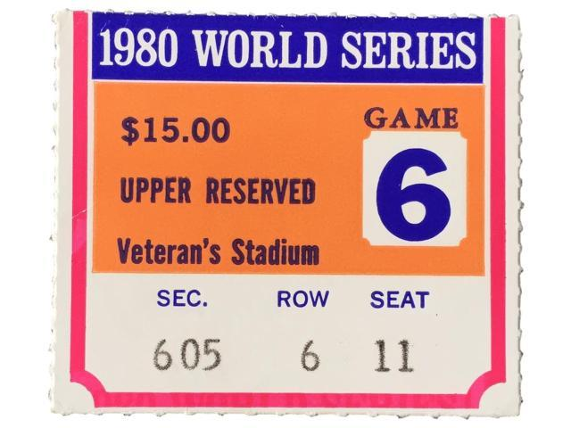 Sports Integrity 20092 1980 World Series Game 6 Upper 600 Section Ticket Stub Phillies vs Royals