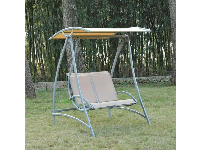 Outsunny 2 Seater Garden Swing Chair Lounger Seat Bench With