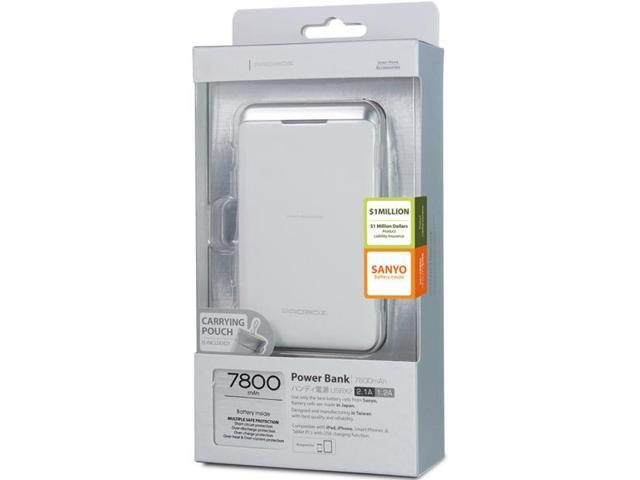 Mediasonic HE1-78U2-W 7800 Mah Power Bank With Orginial Sanyo Japanese Battery Cell 2.1A/1.2A Dual Port White