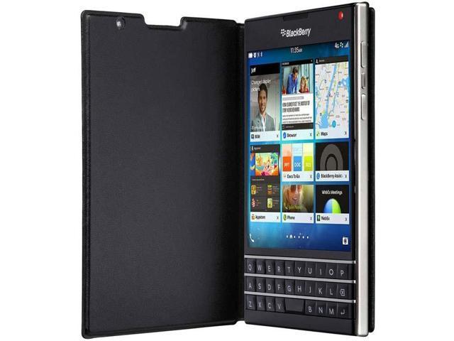 BlackBerry OEM Passport Black Leather Flip Case