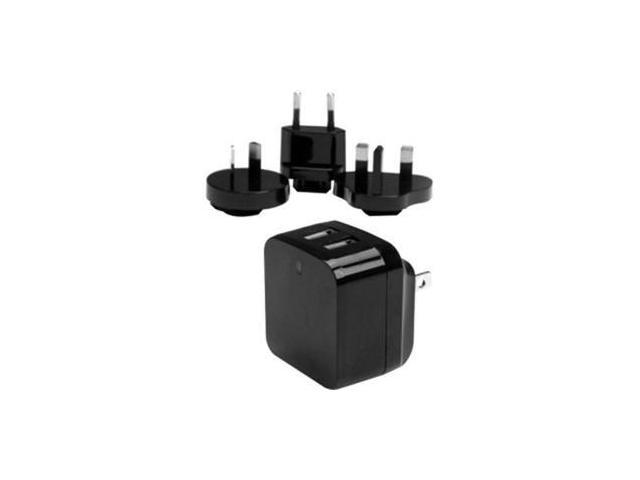 StarTech USB2PACBK Black Dual-port USB wall charger - international travel - 17W/3.4A