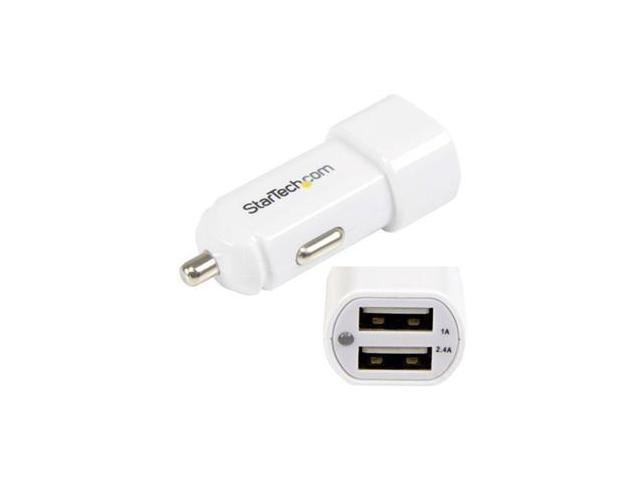 StarTech USB2PCARWH White Dual-port USB car charger - 17W/3.4A