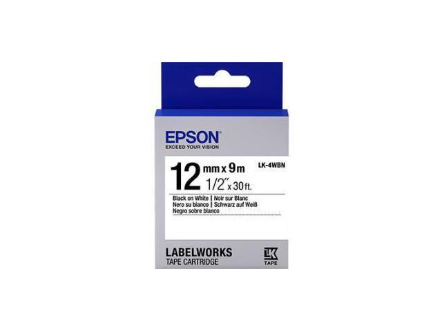 Epson LK-4WBN Label Works Labels Stnd Blk/Wht 12Mm Tape Cart