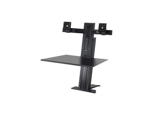 Ergotron 33-407-085 Workfit-Sr Dual Sit-Stand Workstation - Stand ( Desk Clamp Mount, Surface, Column, 2 Pivots, Crossbar, 2 Cord Wraps ) For 2 Lcd Displays / Keyboard / Mouse - Aluminum - Black - Scr