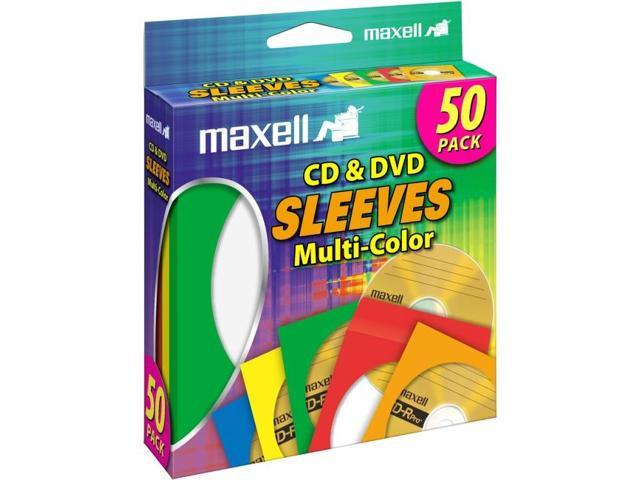 MAXELL CD & DVD SLEEVES MULTI-COLOR 6X50PK
